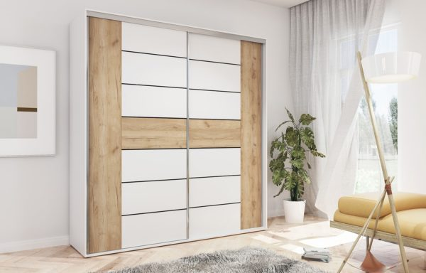Szafa SANDRA – drzwi łączone biały + craft złoty