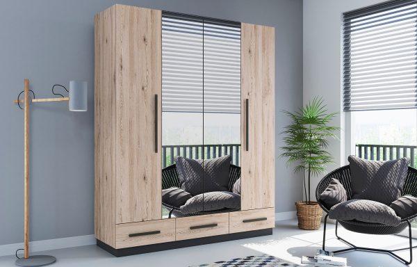 Szafa C2-a lustra na obu frontach – drzwi składane + szuflady