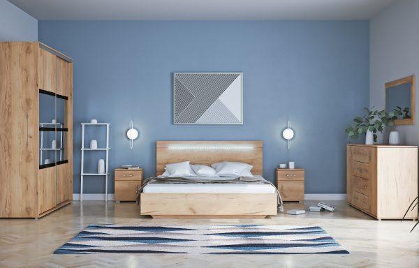 Stoliki nocne i łóżko